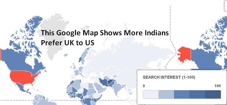 This Google Map Shows More Indians Prefer UK to US